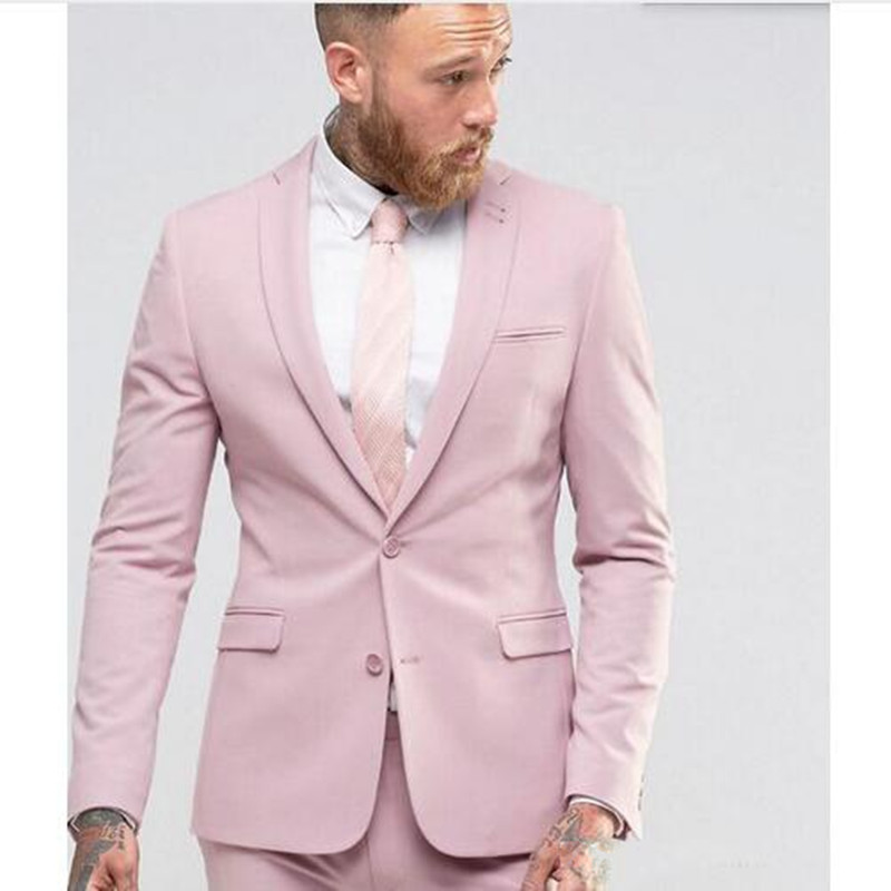 New Arrival Light Pink Men Suit Slim Fit Party Suit Groomsmen Tuxedo Wedding Mens Daily Work Wear(Jacket+Pants)