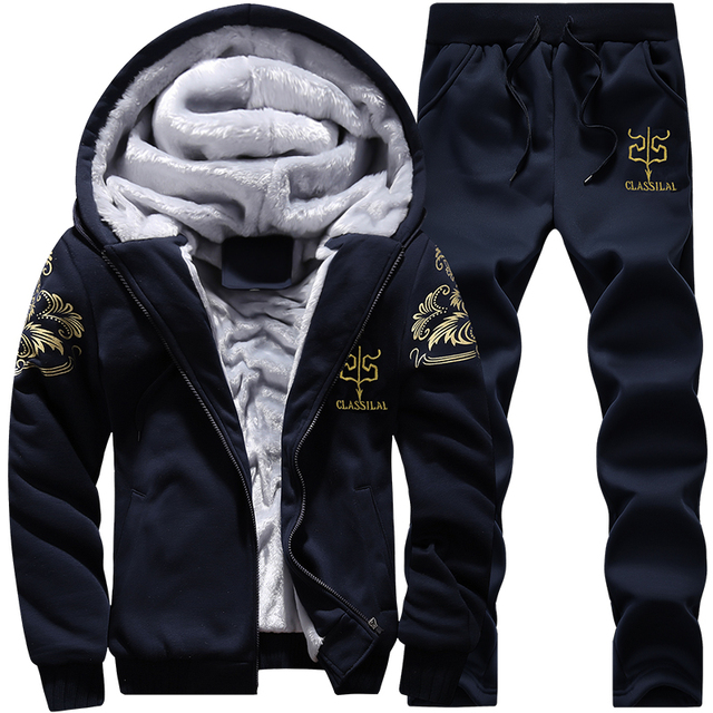 Brand New Men Set Fashion Tracksuit Lined Thick Sweatshirt + Pants Sportswear Suit Male Winter Suit Drop shipping