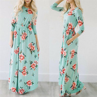 Maxi dress 2017 yeni kadın boho akşam parti balo çiçek baskılı plaj uzun maxi dress o-boyun vestido de verao artı boyutu olabilir 24