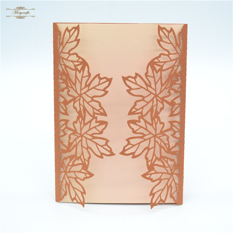 Maple leaf pattern bronze color laser cut handmade wedding ...