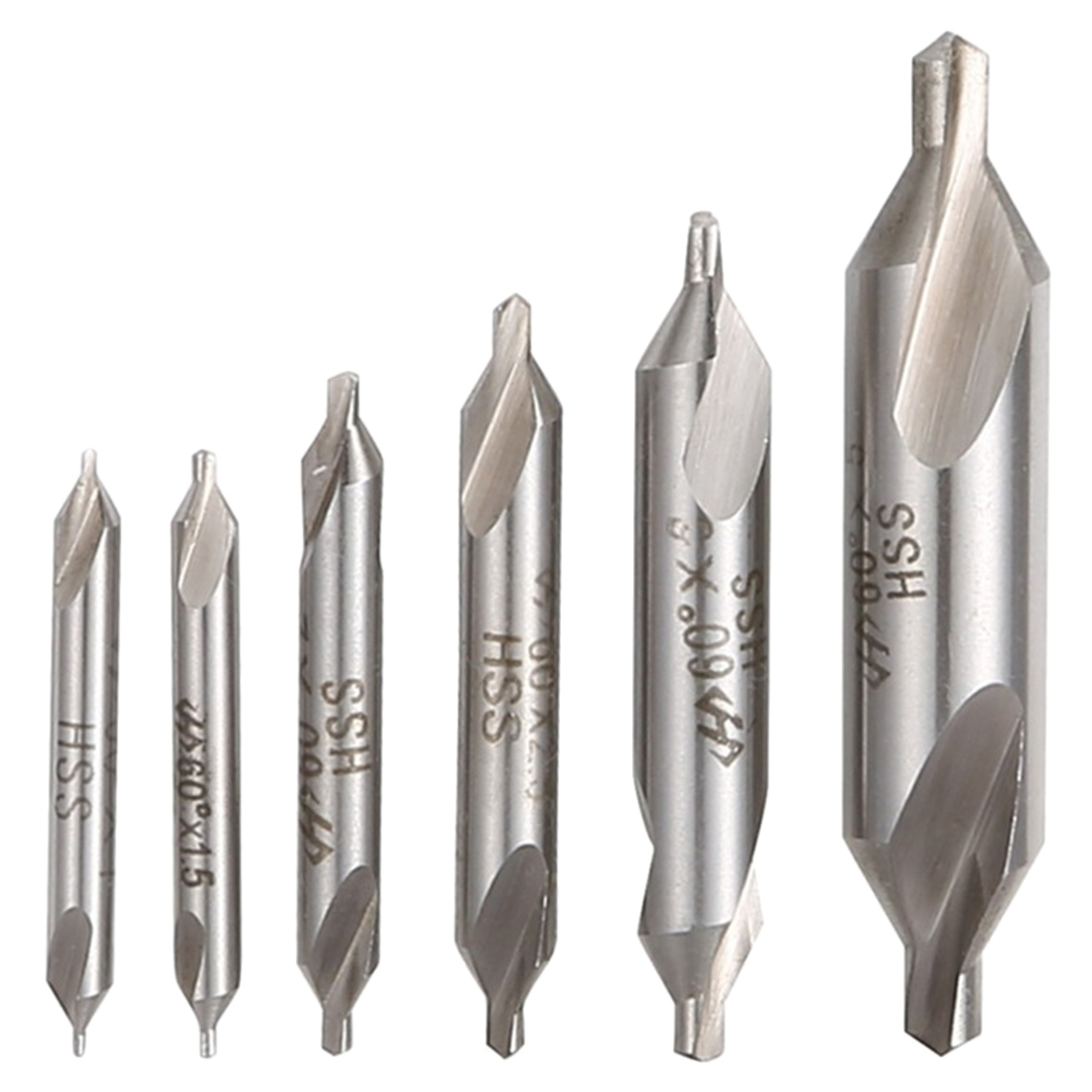 6pcs HSS High Speed Steel Center Drill Bits Set Precision Combined Countersinks Kit 60 Degree Angle 5/3/2.5/2/1.5/1mm For Lathe
