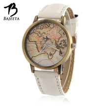 BAJEETA Hot Sale Casual Quartz Women Watch Ladies Men Vintage Leather Wristwatch Female Aircraft World Map Watches White Clock