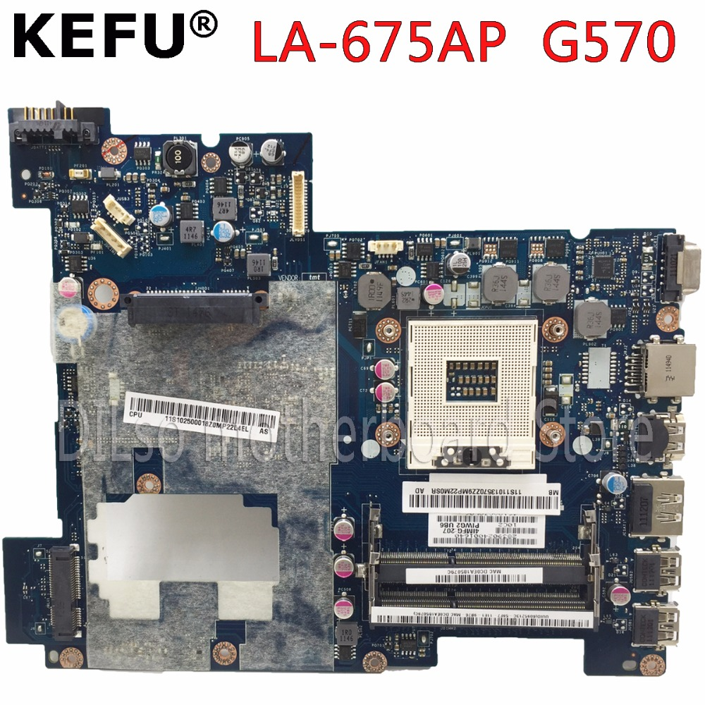 KEFU LA-675AP motherboard For Lenovo G570 laptop motherboard REV1.0 HM65 DDR3 PGA989 mainboard free shipping tested motherboard brand new pbl80 la 7441p rev 2 0 mainboard for asus k93sv x93sv x93s laptop motherboard with nvidia gt540m n12p gs a1 video card