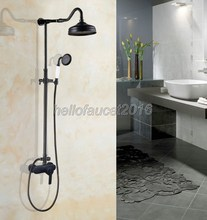 Black Oil Rubbed Bronze Single Handle Rain Shower Mixer Faucet Set Taps Bathroom Wall Mounted lhg655