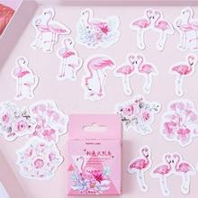 45pcs/lot Pink flamingo paper sticker Decoration DIY Scrapbooking Sticker kawaii diary label sealing stickers 46pcs lot stationery collection mini paper sticker decoration diy scrapbooking sticker kawaii diary label sealing stickers