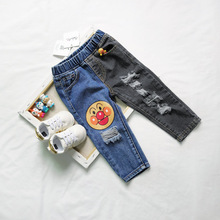 ANKRT 19 Summer New Bread Superman Childrens Jeans Blue and Black Stitching Printed Cotton Pants.12M-6T