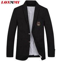 LONMMY M 4XL Mens Blazers And Jackets Cotton Linen Slim Fit Wedding Dress Mens Blazer Jacket