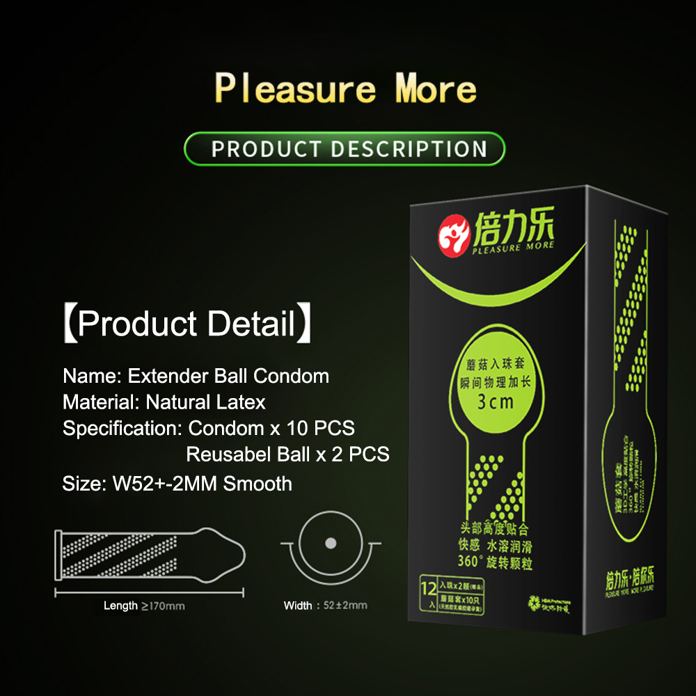Beilile Penis Extender Condom With Balls Penis Enlargement Spike Condoms For Men Reusable Enlarge Ball Penis Sleeve Sex Product