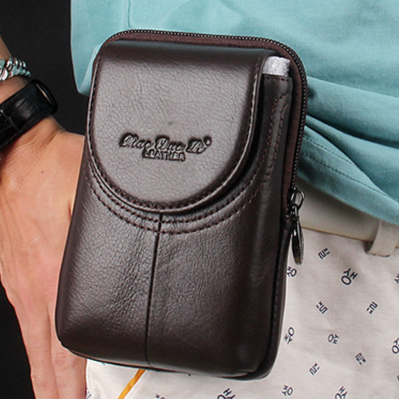 New Men's Genuine Leather Coin Purse Cell Mobile/Phone Pocket Cigarette Case Belt Hip Money Male Trend Bag Waist Fanny Pack