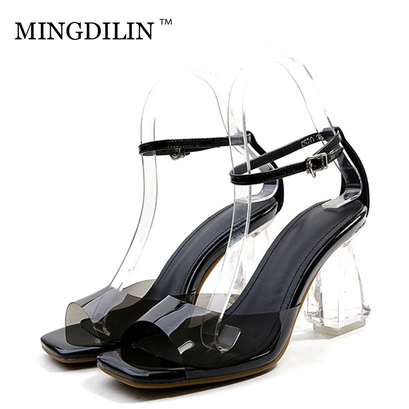 MINGDILIN Summer Women's Transparent Heels Sandals Woman Shoes Sexy Peep Toe High Heels Women's Heels Sandals Zapatos Mujer 2018 цена