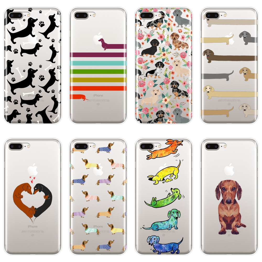 Soft <font><b>Phone</b></font> <font><b>Case</b></font> For iPhone X XR XS MAX 8 7 6S 6 S Silicone Dachshund Dog Heart Love <font><b>Kawaii</b></font> Back Cover For iPhone 6 S 6S 7 8 Plus image