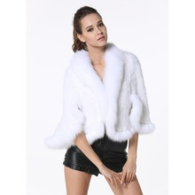 Classic Real Knitted Mink Fur Shawl with Fox Fur Collar Womens Casual Solid Poncho Knitted Mink Fur Cape High Quality LX00069