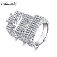 AINUOSHI стерлингового серебра 925 пара свадебные Обручение 4 зубцами кольца Геометрия устанавливает Для мужчин Юбилей прекрасный Promise Ring подаро