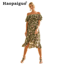 Plus Size 2019 Summer Floral Dress Women Off Shoulder Vacation Print Princess Dresses Ladies Loose Ruffles Green Vintage Dress green off shoulder random floral print dress