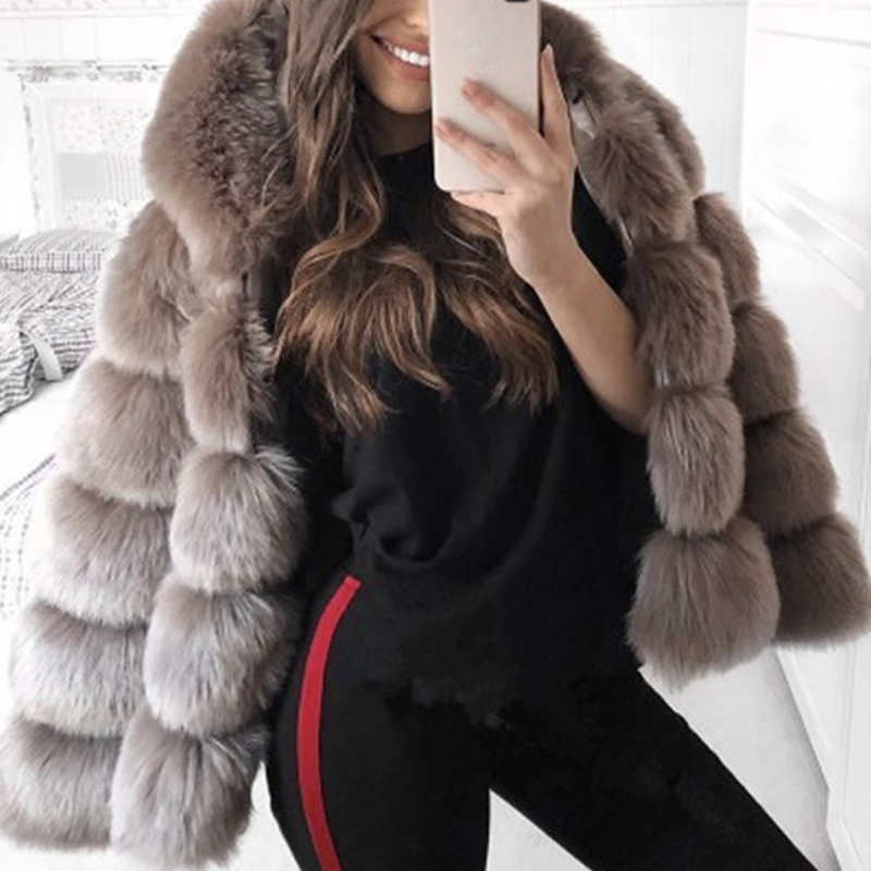 Coat Women Hooded Jacket Luxury Faux-Fur Long-Sleeve Winter Fur Plus-Size Thick 3X Warm