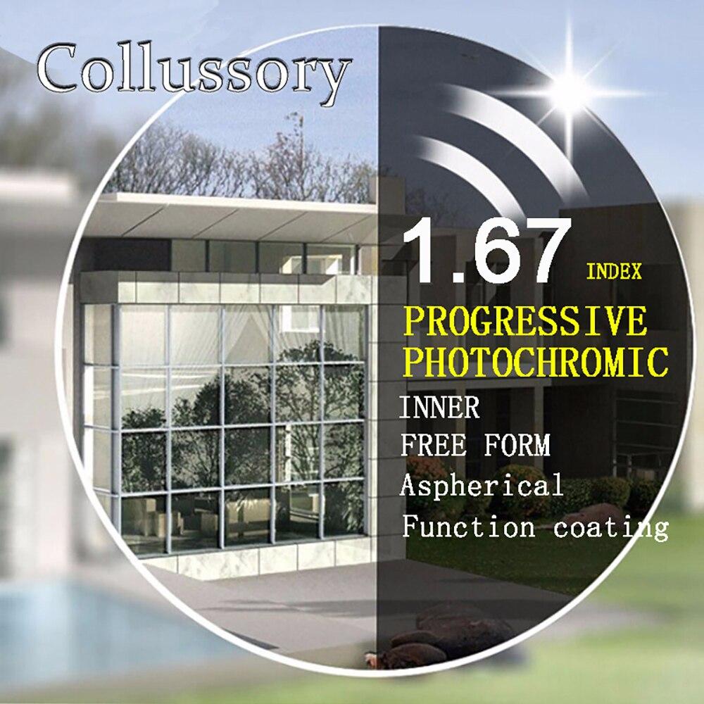 1 67 Index Aspherical Optical Free Form Progressive Photochromic Gray Prescription Reading Lenses Multifocal Bifocal Thin