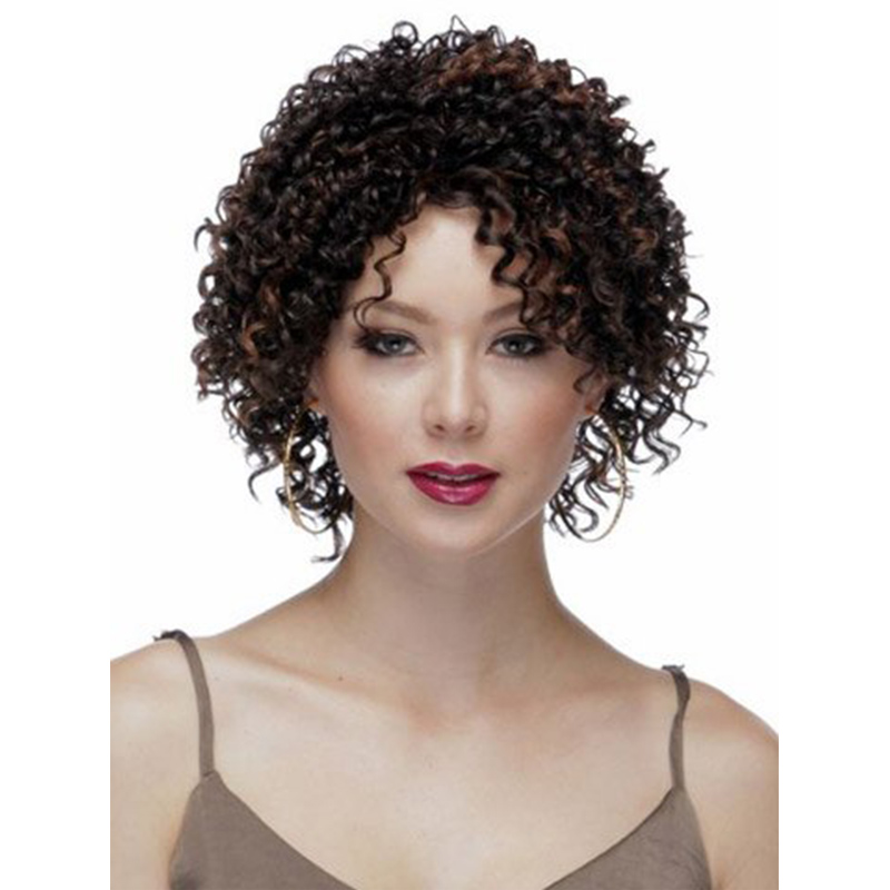 Short Afro Curly Wigs For Black Women Kinky Brown Synthetic Women's Wig Cosplay