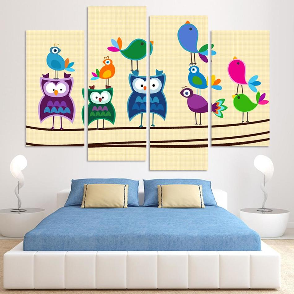 ᗛFree Shipping 4pieces Canvas art Abstract birds painting multi ...