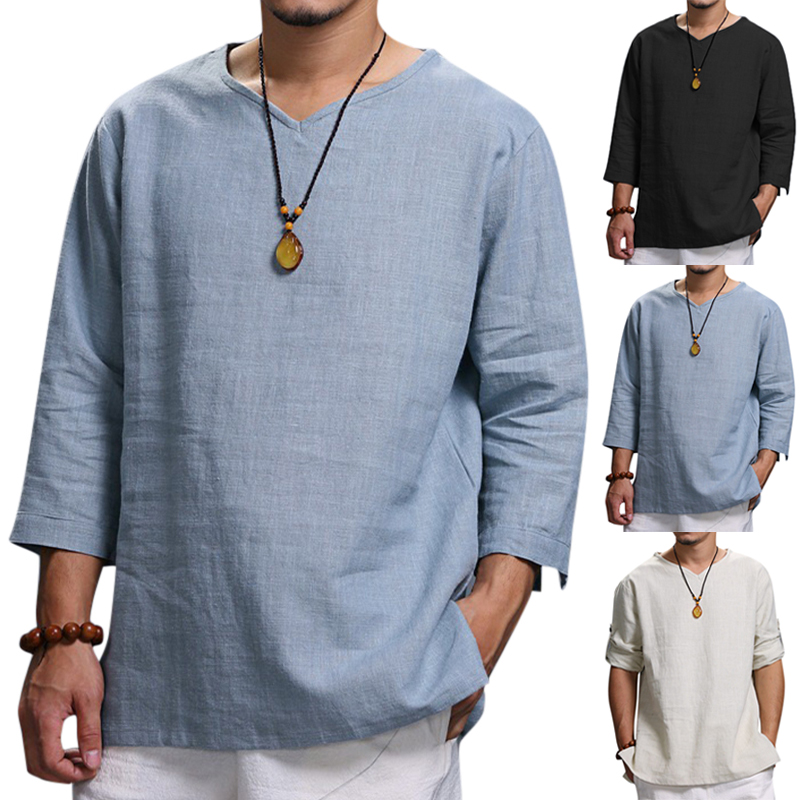 Vintage Mens T Shirts V-neck Folded Sleeve Solid Color Loose Casual Tshirts Male Tee Autumn Spring Men Clothes 4XL Men Tee Shirt
