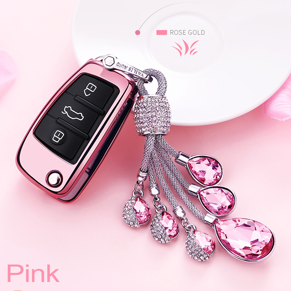 Glossy Metallic Soft TPU 360 Full Protection Key Fob Shell Case Cover Fit for 3Buttons Audi A4L A6L Q5 A5 A7 A8 S5 S7 Keyless Entry Rose Gold Pink