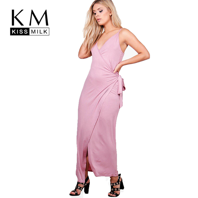 af0a2118ee67 Kissmilk Plus Size Women Spaghetti Strap Maxi Dress Sleeveless Solid Color  Asymmetrical Dress High Waist Tie Bodycon Dress