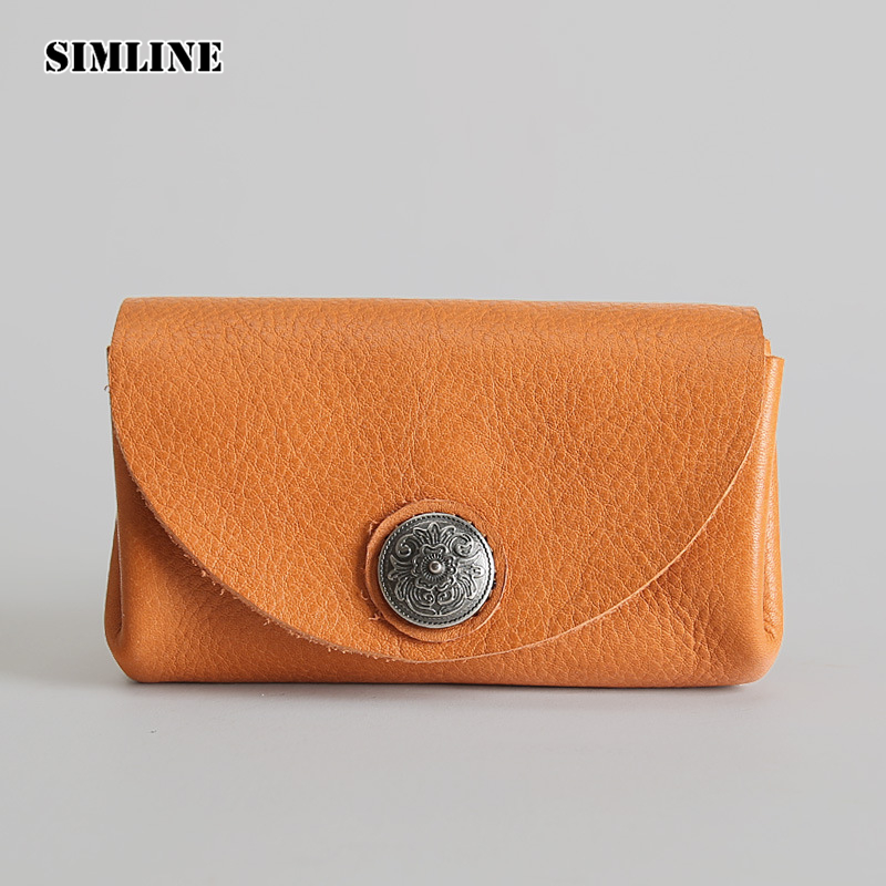 SIMLINE Vintage Handmade Genuine Leather Men Wallet Male Short Cowhide Small Wallets Coin Purse Pocket Card Holder Female Women