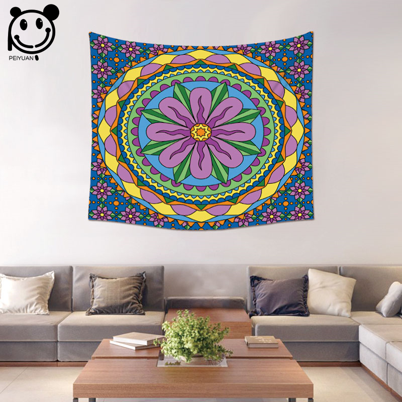 PEIYUAN Colorful India Mandala Tapestry Factory Wholesale Custom Wall Hanging Table Cloth Tapestry Home Decorative Beach Towel