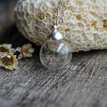 Wish Dandelion Seed Real Flor de la Bola de Cristal de la Cadena Fine Jewelry Accesorios Boho Gargantilla Collar y Colgantes de Las Mujeres de La Vendimia de Los Encantos