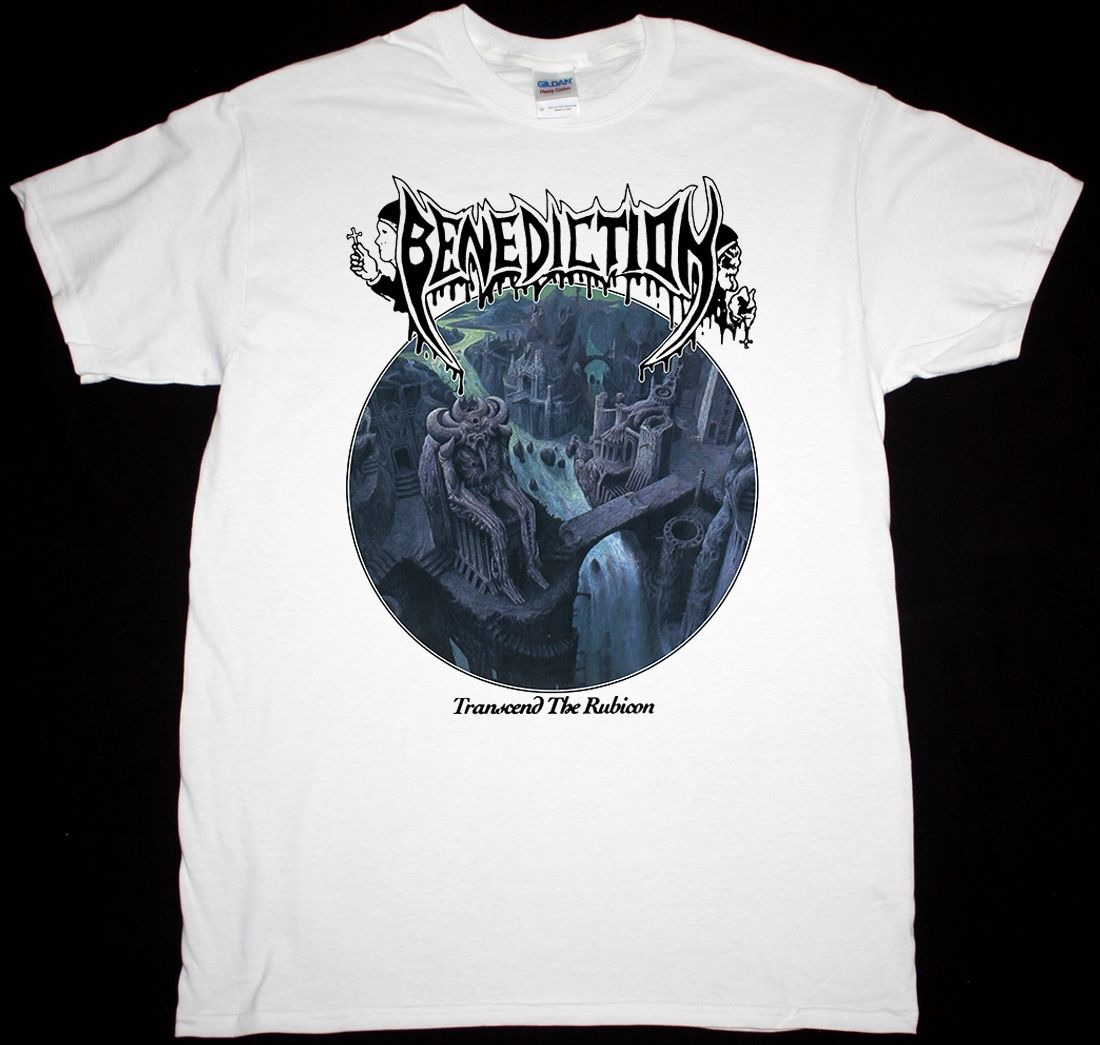 BENEDICTION TRANSCEND THE RUBICON DEATH METAL DISMEMBER NEW WHITE T-SHIRT On Sale New Fa ...