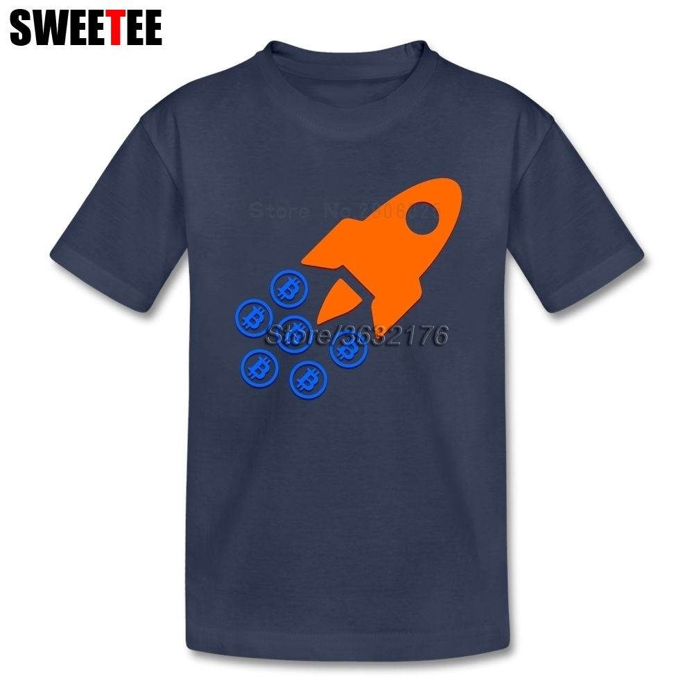 Bitcoin Rockets childrens T Shirt 100% Cotton Short Sleeve O Neck Tshirt Bitcoin Tees Boys Girls 2018 Cartoon T-shirt For Baby