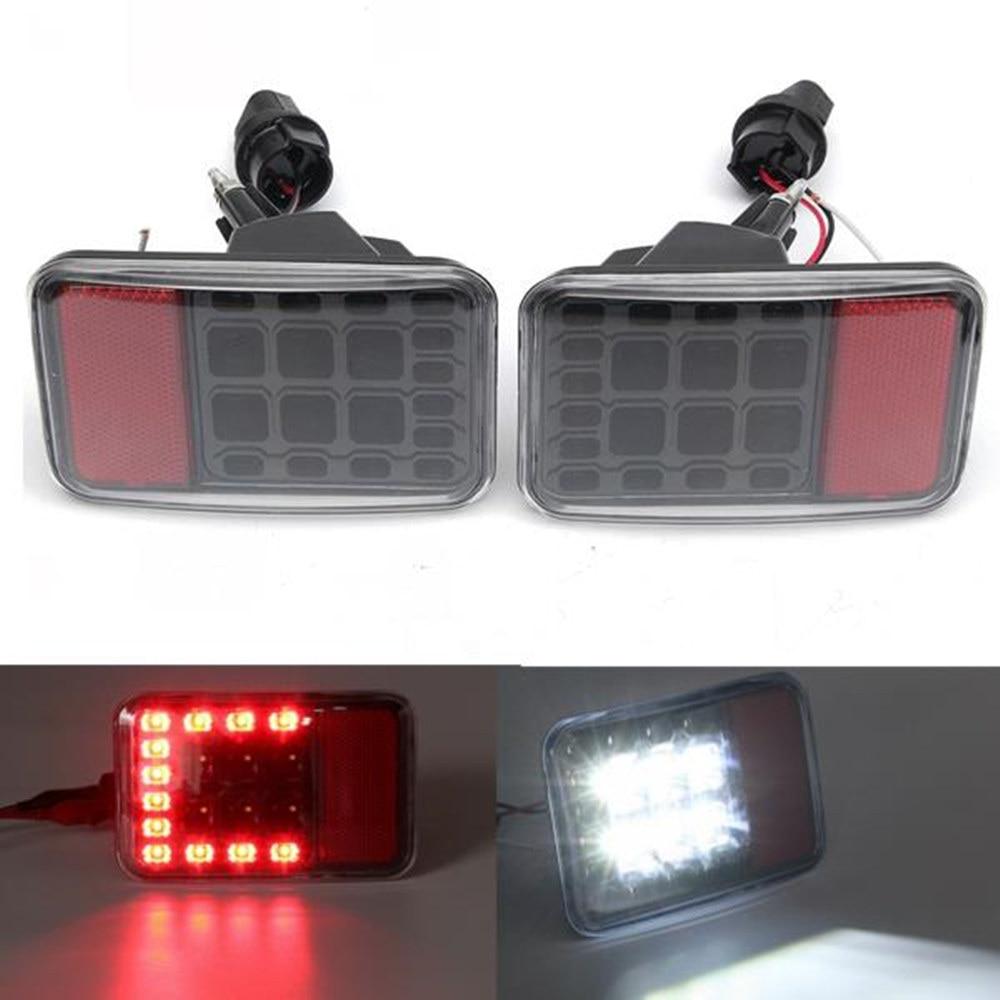 A Pair Clear Lens Led Reverse Backup Lamp Rear Bumper Tail