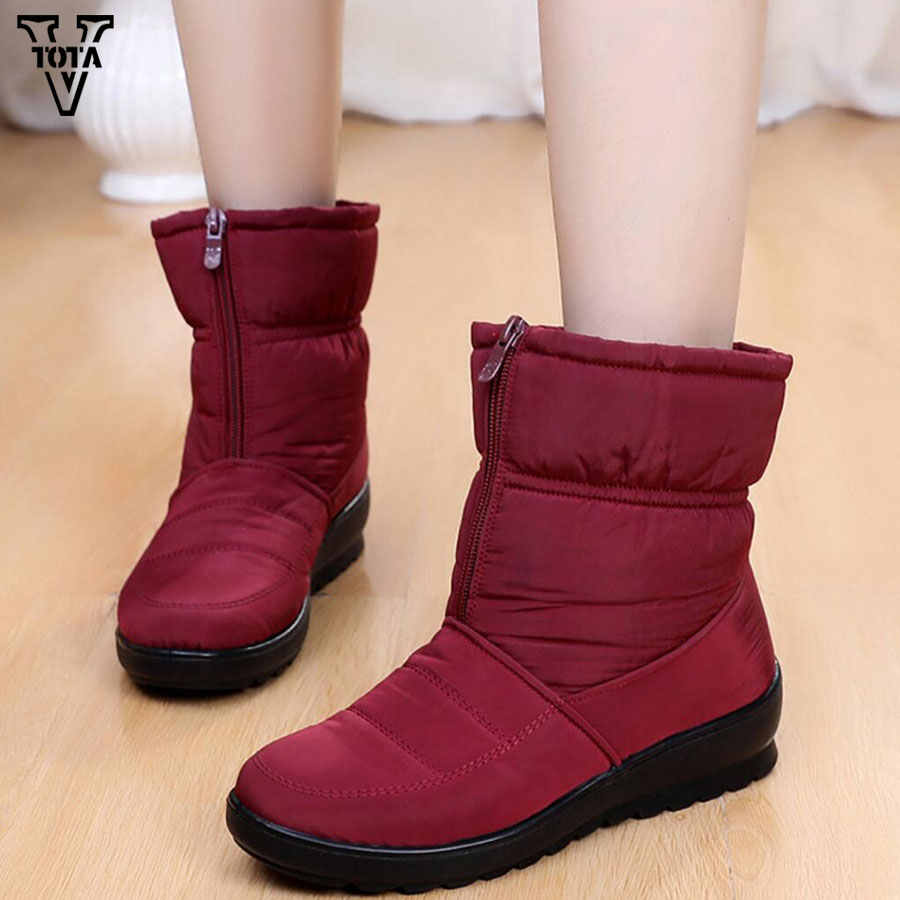 Vtota New Winter Boots Women Bow Snow Warm Ankle Boot Fashion Wanita Sepatu Bot Salju Non Slip Pasang Kaos Mujer Musim Dingin