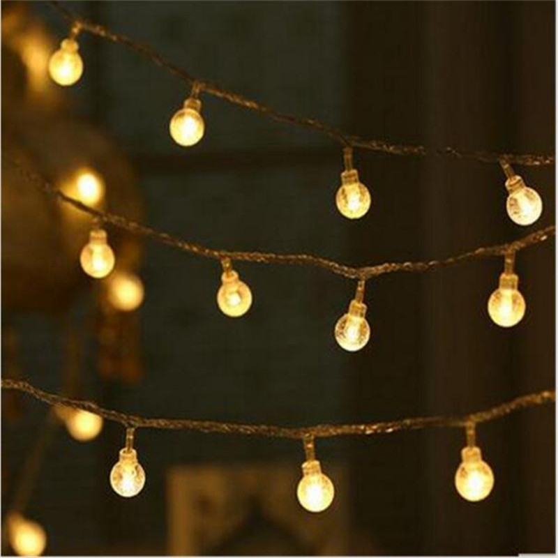 Հարսանեկան ձևավորում Նորույթ 10M LED Festoon Crystal ball String Lamps Fair Christmas Lights Garland Light Guirlande Lumineuse