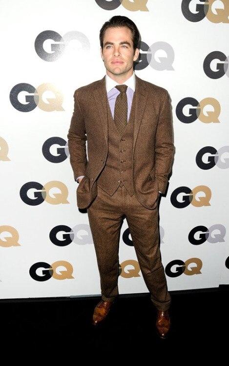 Tailor Made Brown Tweed Groom Tuxedos Fashion 3 Piece Mens Wedding ...