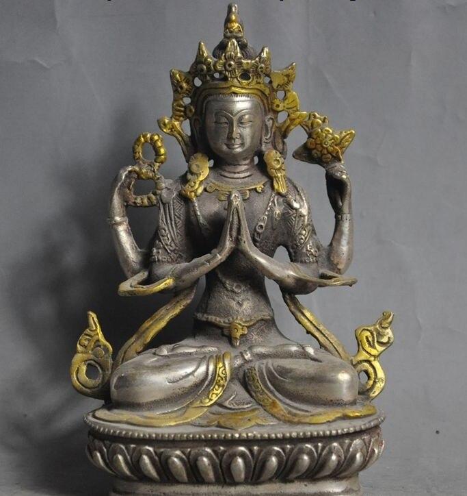 Old Tibet Buddhism Silver 4 Arms Chenrezig Kwan-yin Bodhisattva Buddha Statue
