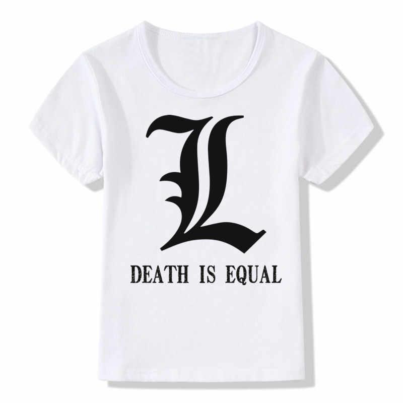Meninos & Meninas de Impressão Japonês Death Note Comic Dos Desenhos Animados T-shirt Crianças Casuais T shirt Crianças Tops T Roupas de Bebê, ooo466