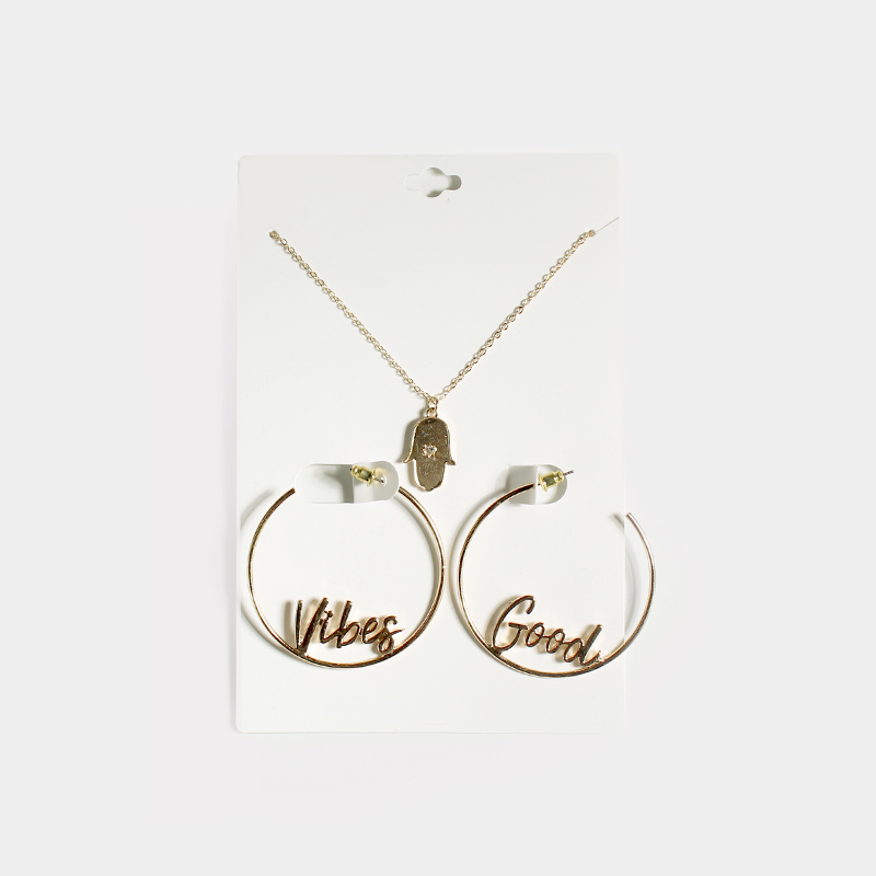 Letter YEAH NAH Vibes Good Babe Hoop Earrings Crystal Hamsa Whatever Rose Pendant Choker Necklace Fashion Jewelry Set for Women