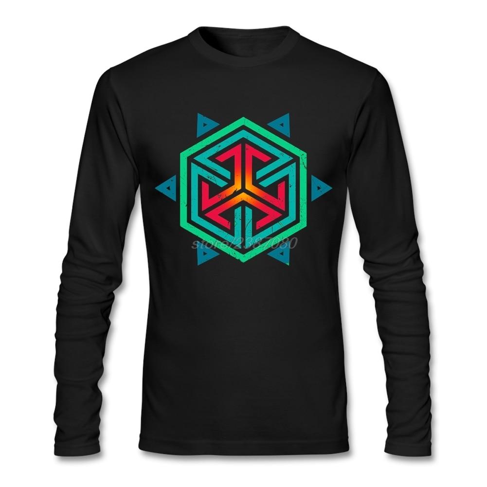 Design t shirt europe - Long Sleeve T Shirts Man Designing Vintage Retro Colors Geometric Hexagon Tshirt Mens New Europe