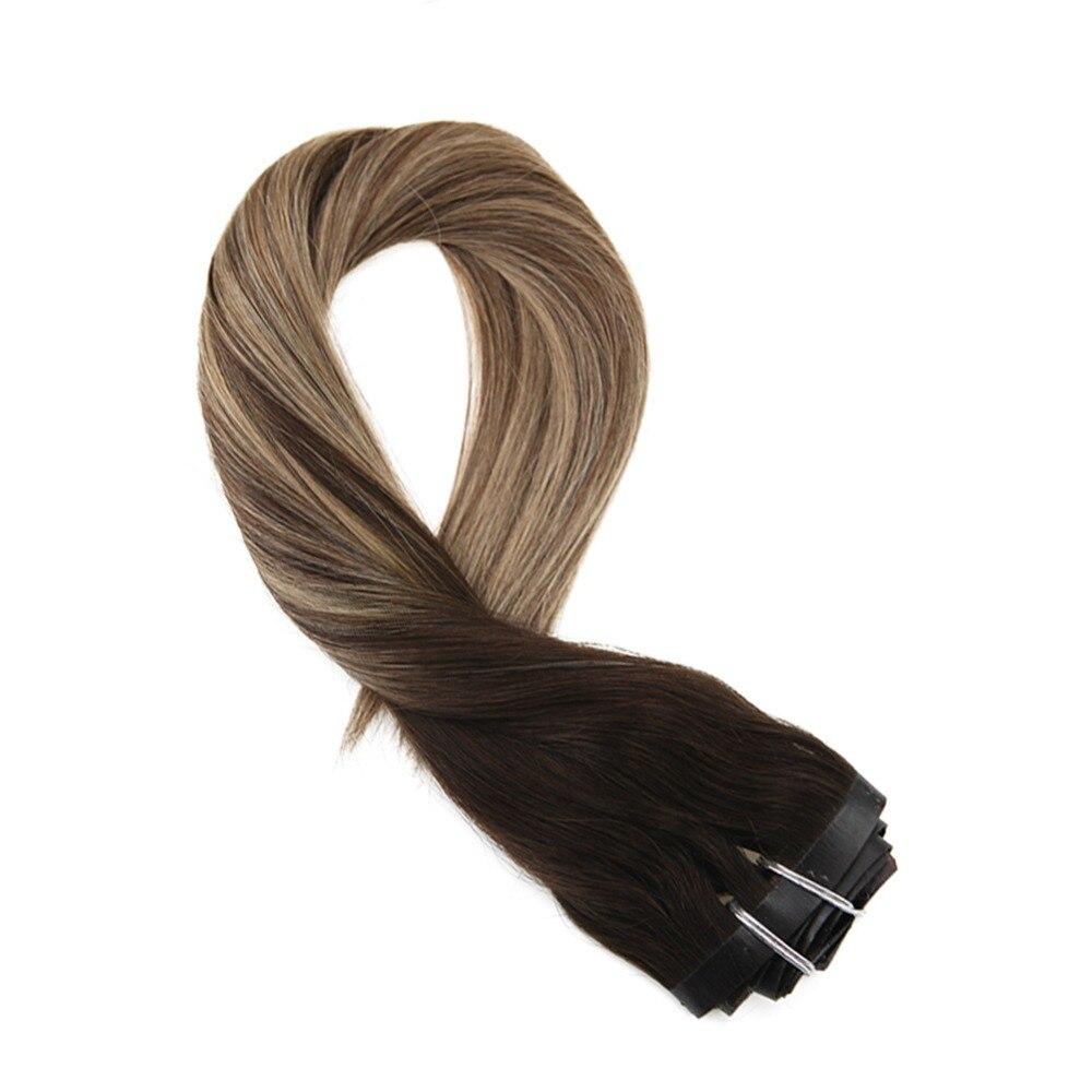 Moresoo Seamless PU Clip In Human Hair Extension Black Mixes With Brown #1B/3/27 Machine Remy Brazilian Hair 7PCS 100G