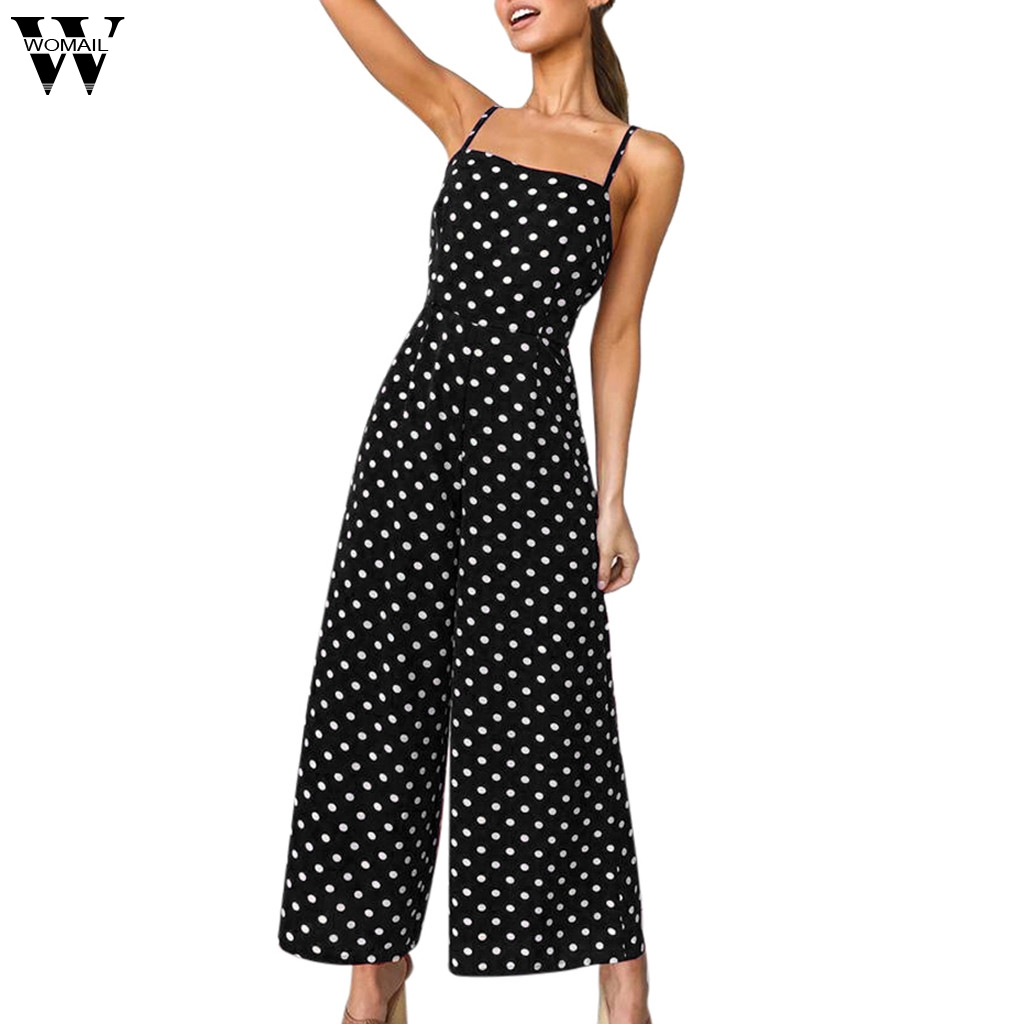 Womail Bodysuit Women Summer Fashion Polka Dot Holiday Wide Leg Pants Long Jumpsuit Backless Strappy Playsuit NEW  M7