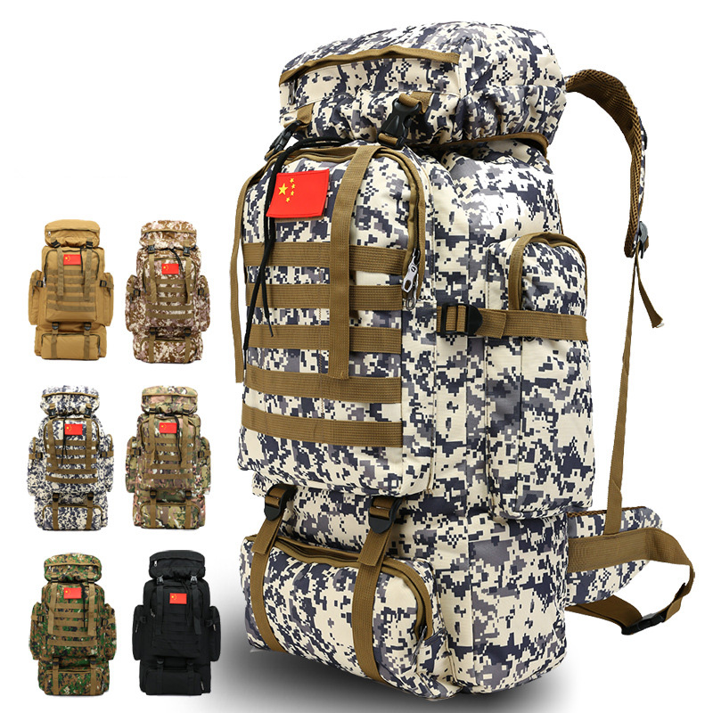 Outdoor 70L Large Capacity Mountaineering Backpack Camping Hiking Military Molle Camo Water-repellent Tactical Bag Adjustable
