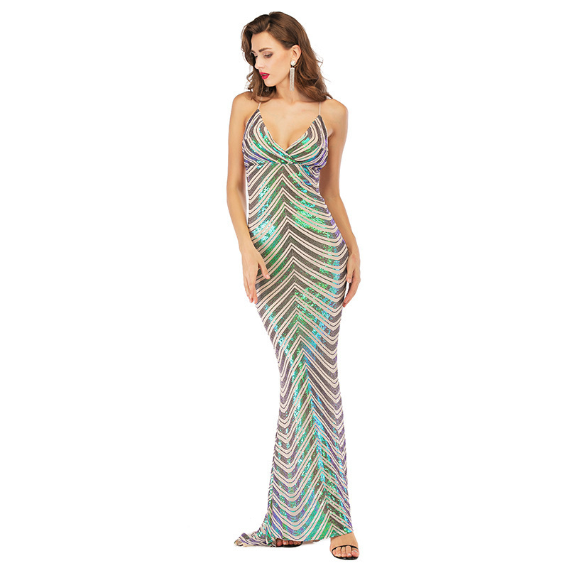 Sparkle Mermaid Prom Dresses Long V-Neck Sequined Striped Sexy Backless Sweep Trail Bodycon Women Party Gowns Vestidos De Gala