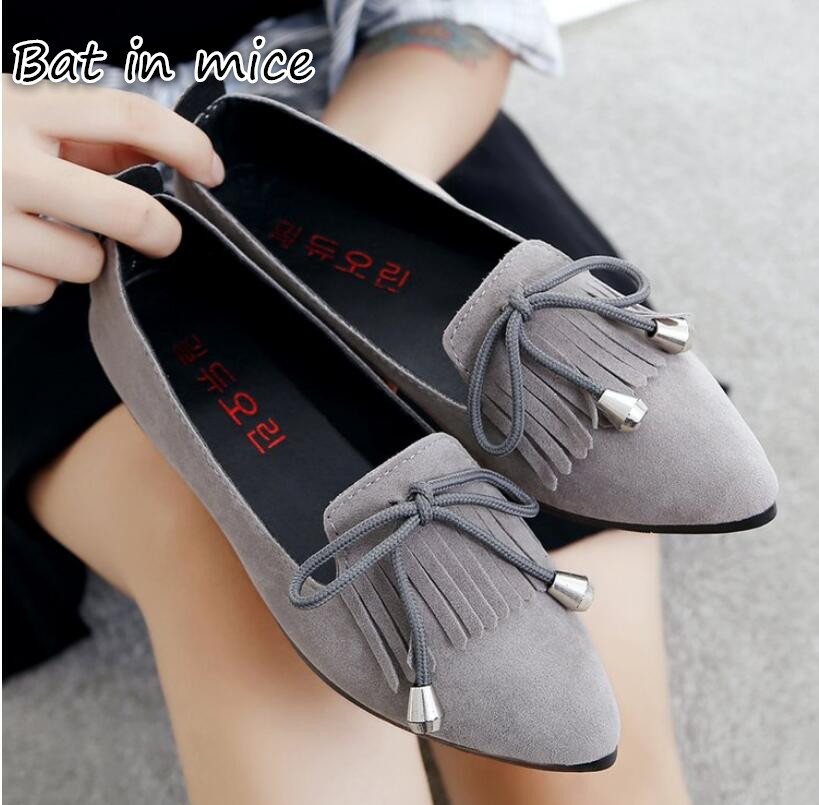 Leather Oxford Shoes For Women Pointed Toe Tassel bowknot Casual Nurse Shoes Autumn Flat shoes With Leather Women Loafers Z195 slhjc 2017 autumn flat heel shoes pointed toe women flats with metal chain real fur loafers work shoes d25