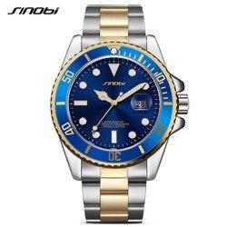 SINOBI Watch Men 2017 Casual Waterproof Date Stainless Steel Band Luxury Clock Sports Watches Golden Relogio Masculino
