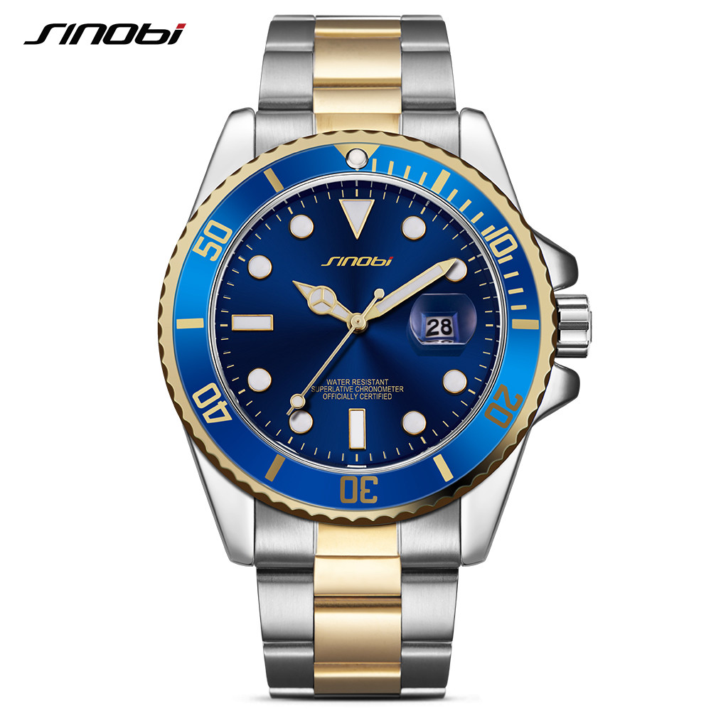 SINOBI Watch Men 2017 Casual Waterproof Date Stainless Steel Band Luxury Clock Sports Quartz Watches Golden Relogio Masculino