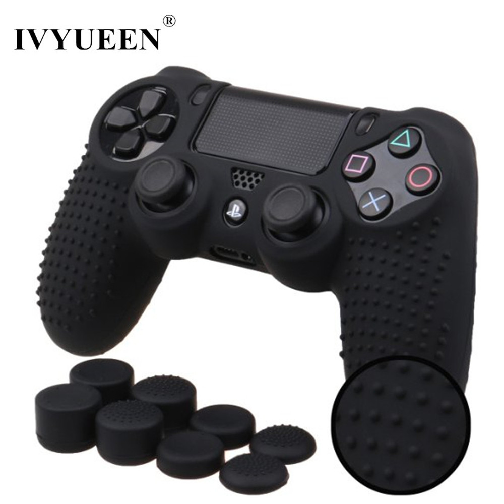 IVYUEEN 9 in 1 for Dualshock 4 PS4 Slim Pro Controller Studded Skin Premium Protective Anti-slip Soft Silicone Grip Case Cover ...