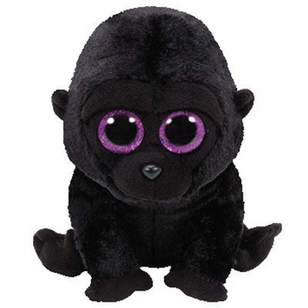 "Pyoopeo Asli TY Boo 10 ""25 Cm George Hitam Gorilla Plush Sedang Lembut Bermata Besar Boneka Binatang koleksi Mainan Boneka"