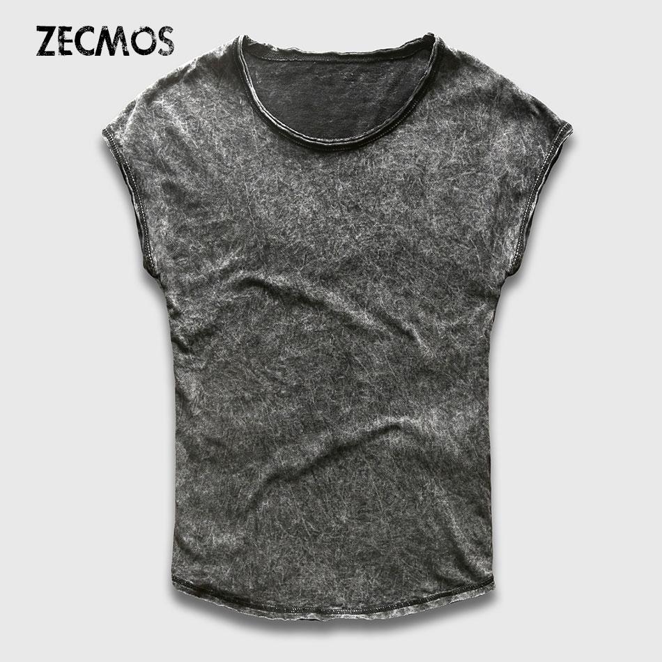 Zecmos Men Tank Top Fashion Sleeveless Tank Men Singlet Man Stringer Summer Novelty Vintage Washed Hip Hop Rock Style Streetwear