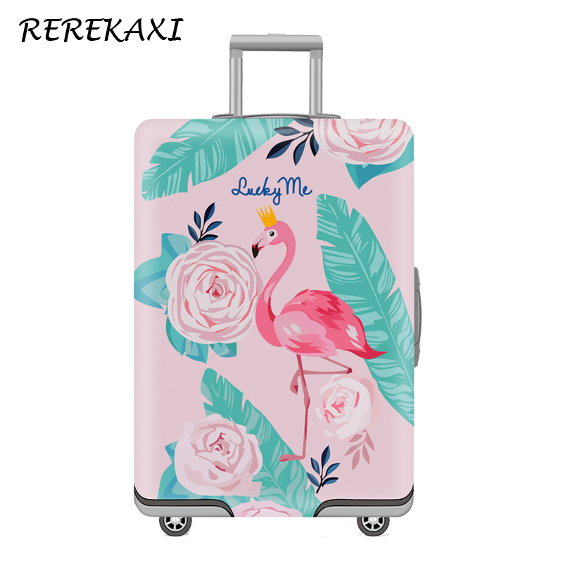 REREKAXI Luggage Cover For 19-32 Inch Suitcase,Trolley Elastic Protection Case Covers,Travel Baggage Cartoon Flamingo Dust Cover