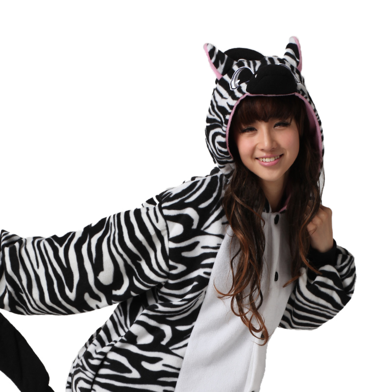 2019 New Cute Brazil Zebra Cosplay Costumes Halloween Party Adult Unisex Animal Pyjamas Pajamas Onesies Jumpsuit Sexy Sleep Suit